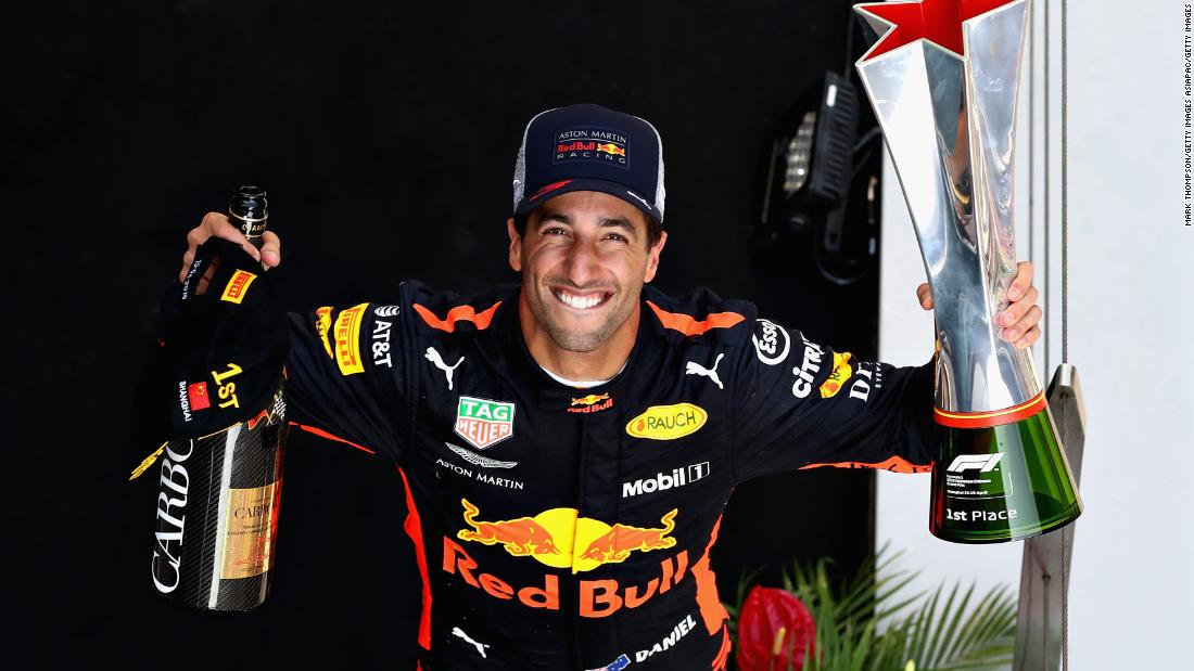 An inspired Daniel Ricciardo claimed a remarkable and unexpected victory from sixth on the grid after a tactical masterstroke by his Red Bull team, with furious championship leader Vettel back in eighth place.