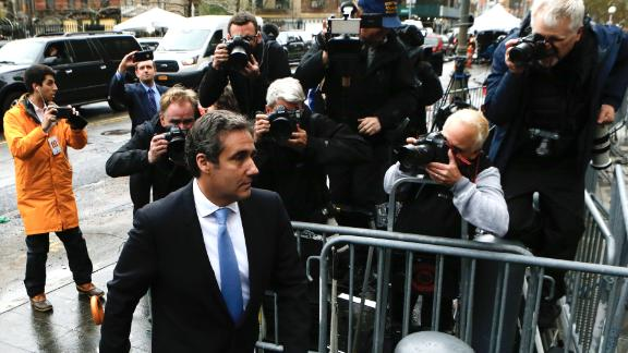 Michael Cohen, personal lawyer of US President Donald Trump, arrives for a court hearing at the US Courthouse in New York on April 16, 2018.