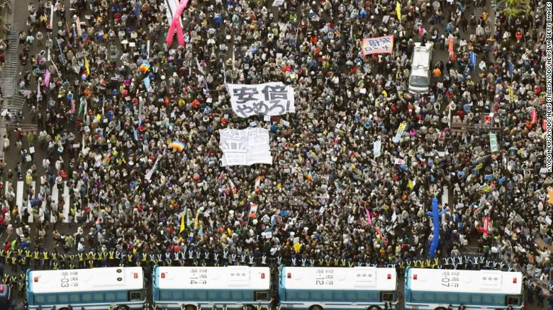 Photo taken from a Kyodo News helicopter on April 14, 2018, shows about 30,000 people gathered in front of the Diet building to seek Prime Minister Shinzo Abe's resignation in the wake of a string of recent scandals.