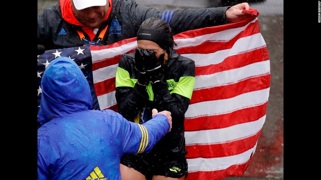 "Desiree Linden of Michigan celebrates after winning the women's division of the 122nd Boston Marathon on Monday, April 16. She is the <a href=""https://bleacherreport.com/articles/2770814-boston-marathon-2018-results-desiree-linden-1st-american-woman-to-win-since-85"" target=""_blank"">first American woman to win the race since 1985</a>."