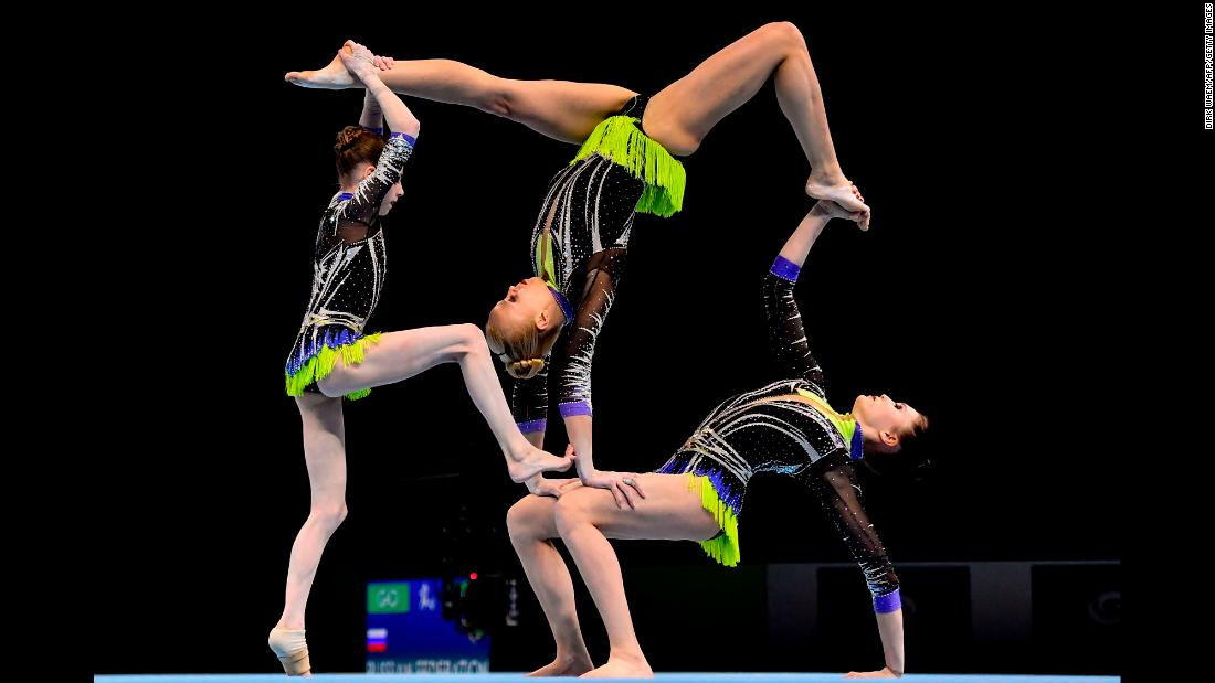 Russian gymnasts Daria Chebulanka, Polina Plastinina and Kseniia Zagoskina compete in the final of the women's group competition on the second day of the Acrobatic Gymnastics World Championships in Antwerp, Belgium, on Saturday, April 14.