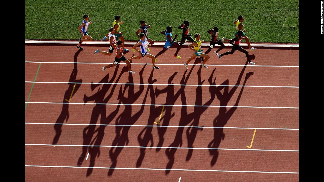 Runners compete in the men's 1500 metres final on day 10 of the Commonwealth Games on the Gold Coast in Australia on Saturday, April 14.