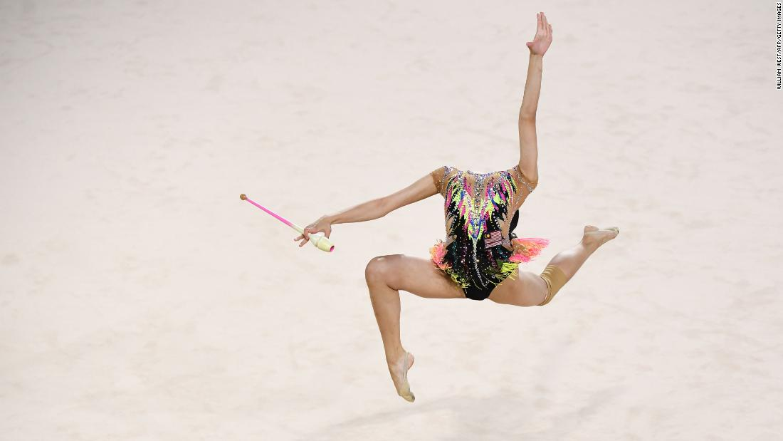 Malaysia's Izzah Amzan competes in the clubs event of the rhythmic gymnastics team final and individual qualification during the Commonwealth Games on the Gold Coast in Australia on Wednesday, April 11.