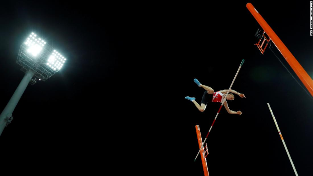 Adam Hague of England competes in the men's pole vault final on Thursday, April 12, at the Commonwealth Games on the Gold Coast in Australia.