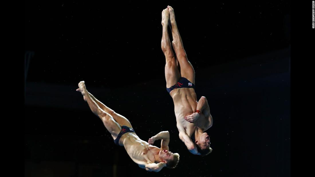 English diving duo Jack Haslam and Ross Haslam compete in the men's synchronised 3 meter springboard diving final on day nine of the Commonwealth Games on the Gold Coast in Australia on Friday, April 13.