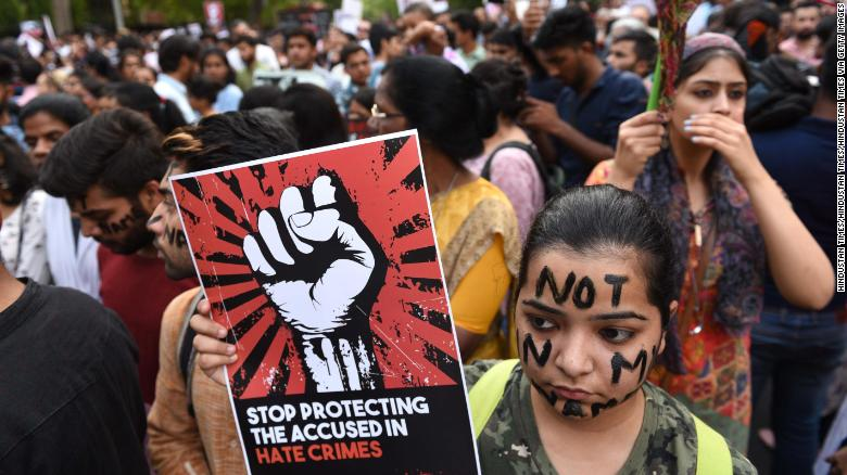 People take part in protests in Delhi,  following the Kathua rape case, April 15, 2018.