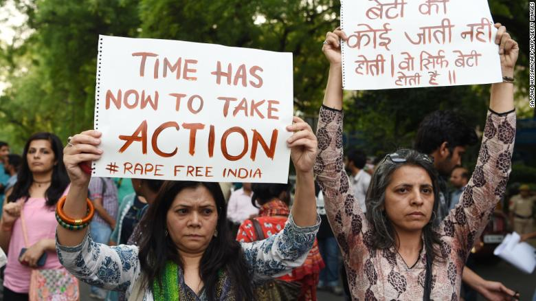 Women join a protest this week in New Delhi in support of victims following high-profile rape cases.