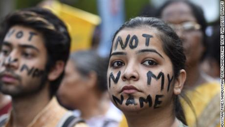 People take part in a protest against the recent rape cases, assembling on April 15, 2018 in New Delhi, India.