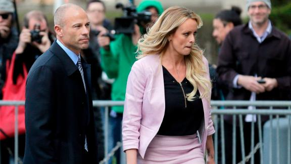 Stormy Daniels and her attorney Michael Avenatti leave federal court in New York, Monday, April 16, 2018. (AP/Seth Wenig)