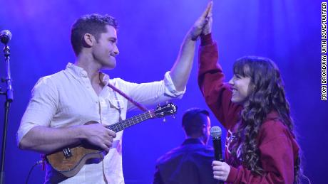 Matthew Morrison rehearses with Stoneman Douglas senior Kali Clougherty for Monday's benefit concert.