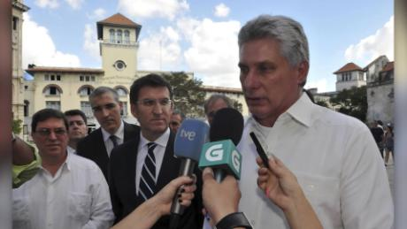 Miguel Díaz-Canel speaks with reporters after voting in the National Assembly elections in March.