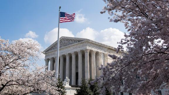 UNITED STATES - APRIL 10: Cherry blossoms frame the U.S. Supreme Court building in Washington on Tuesday, April 10, 2018. (Photo By Bill Clark/CQ Roll Call)