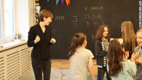 Children participate in an improv class at the Warsaw Jewish Community Center. The center hosts numerous events for children and families each week, including a family brunch on Sundays and a special parenting group for fathers. It is a project of the American Jewish Joint Distribution Committee.