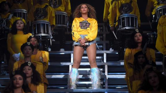 Beyonce Knowles performs onstage with 150-plus cast members during 2018 Coachella Valley Music And Arts Festival on April 14, 2018.