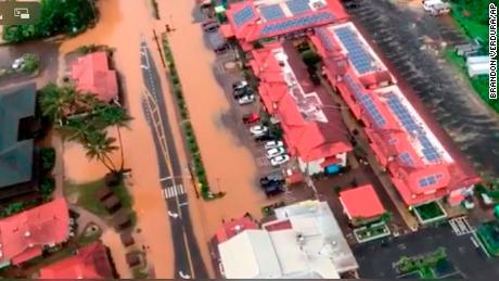 A photo of the US Coast Guard UU Flooding in the Hanalei Bay of Kauai.
