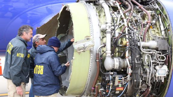 The National Transportation Safety Board is onsite inspecting a Southwest airline plane after engine failure caused the plane to make an emergency landing at Philadelphia International Airport.