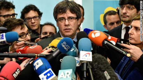 Catalonia's sacked leader Carles Puigdemont addresses a press conference after meeting with the speaker of the Catalan regional Parliament in Brussels on January 24, 2018.  Catalonia's ousted president Carles Puigdemont met with the speaker of the region's parliament in Brussels despite efforts by Spain's central government to prevent the talks. / AFP PHOTO / JOHN THYS        (Photo credit should read JOHN THYS/AFP/Getty Images)