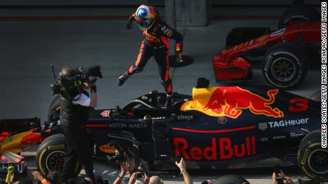 SHANGHAI, CHINA - APRIL 15:  Race winner Daniel Ricciardo of Australia and Red Bull Racing celebrates in parc ferme during the Formula One Grand Prix of China at Shanghai International Circuit on April 15, 2018 in Shanghai, China.  (Photo by Charles Coates/Getty Images)