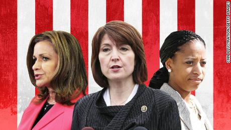 At left,  Rep. Lynn Jenkins, a Republican from Kansas; at center, Rep. Cathy McMorris Rodgers, a Washington Republican and No. 4 in House GOP leadership; and at right, Rep. Mia Love, a Utah Republican.