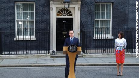 British Prime Minister David Cameron resigns outside 10 Downing Street on June 24, 2016.
