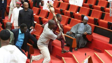 Armed men invaded Nigeria's Senate Wednesday and made away with its mace.