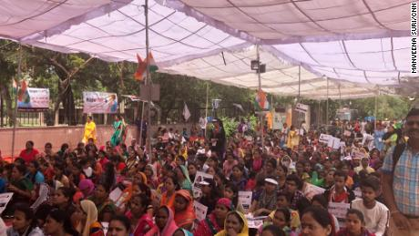 Hundreds of supporters attend a rally for Maliwal's hunger strike and her call for stricter laws against rapists.