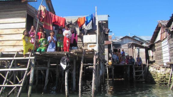 The seaside village of Jaya Bakti in Sulawesi, Indonesia, is inhabited largely by Bajau people.