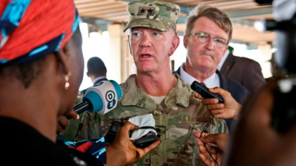 NIAMEY, Niger -- US Air Force Maj. Gen. Marcus Hicks, commander, Special Operations Command Africa, is interviewed by local media after the opening ceremony of Flintlock 2018 in Niamey, Niger, April 11, 2018. (US Army Photo by Sgt. Heather Doppke/79th Theater Sustainment Command)
