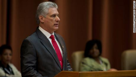 "Handout picture released by Cuban official website www.cubadebate.cu showing Cuba's new President Miguel Diaz-Canel delivering his first speech after he was formally named president by the National Assembly, in Havana on April 19, 2018.   Miguel Diaz-Canel succeeds Raul Castro -- a historic handover ending six decades of rule by the Castro brothers. The 57-year-old Diaz-Canel, who was the only candidate for the presidency, was elected to a five-year term with 603 out of 604 possible votes in the National Assembly.   / AFP PHOTO / www.cubadebate.cu / HO / RESTRICTED TO EDITORIAL USE - MANDATORY CREDIT ""AFP PHOTO / www.cubadebate.cu"" - NO MARKETING NO ADVERTISING CAMPAIGNS - DISTRIBUTED AS A SERVICE TO CLIENTS  HO/AFP/Getty Images"