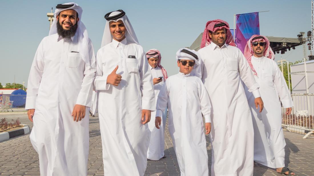 Fans attend a match at the Khalifa International Stadium.