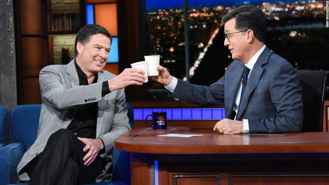 "James Comey sits down with Stephen Colbert on Tuesday, April 17. ""The Late Show"" was one of Comey's <a href=""http://money.cnn.com/2018/04/17/media/stephen-colbert-james-comey-interview/index.html"" target=""_blank"">numerous stops</a> on his book tour for ""A Higher Loyalty,"" a new memoir that offers insight into his termination as FBI director by US President Donald Trump."