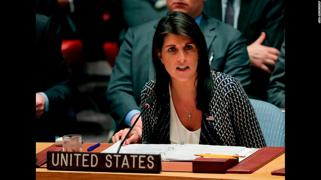 "Nikki Haley, US ambassador to the United Nations, speaks during a Security Council meeting in New York on Friday, April 13. <a href=""https://www.cnn.com/2018/04/13/politics/haley-russia-un-syria-meeting/index.html"" target=""_blank"">Haley said</a> chemical weapons were used in an attack in Syria that left scores dead and she blamed Russia for complicity."