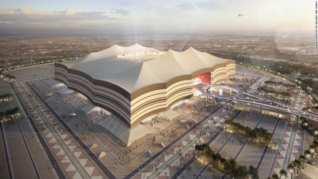 An artist's impression of the exterior of the Al Bayt Stadium.