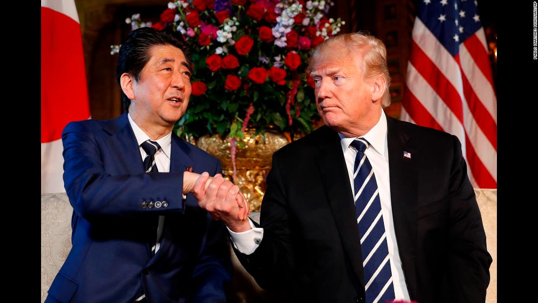 "Japanese Prime Minister Shinzo Abe shakes hands with US President Donald Trump during a meeting at Mar-a-Lago in Palm Beach, Florida, on Tuesday, April 17. Abe spent two days with Trump, <a href=""https://www.cnn.com/2018/04/17/politics/trump-abe-meeting-north-korea-trade/index.html"" target=""_blank"">in a summit</a> in which North Korea and trade dominated their agenda."
