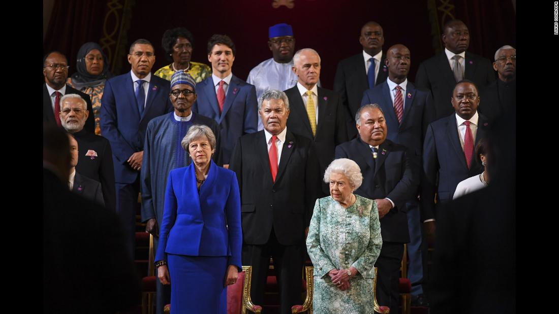 Queen Elizabeth II takes a photo with heads of state during the opening of the Commonwealth Heads of Government Meeting in London's Buckingham Palace on Thursday, April 19.