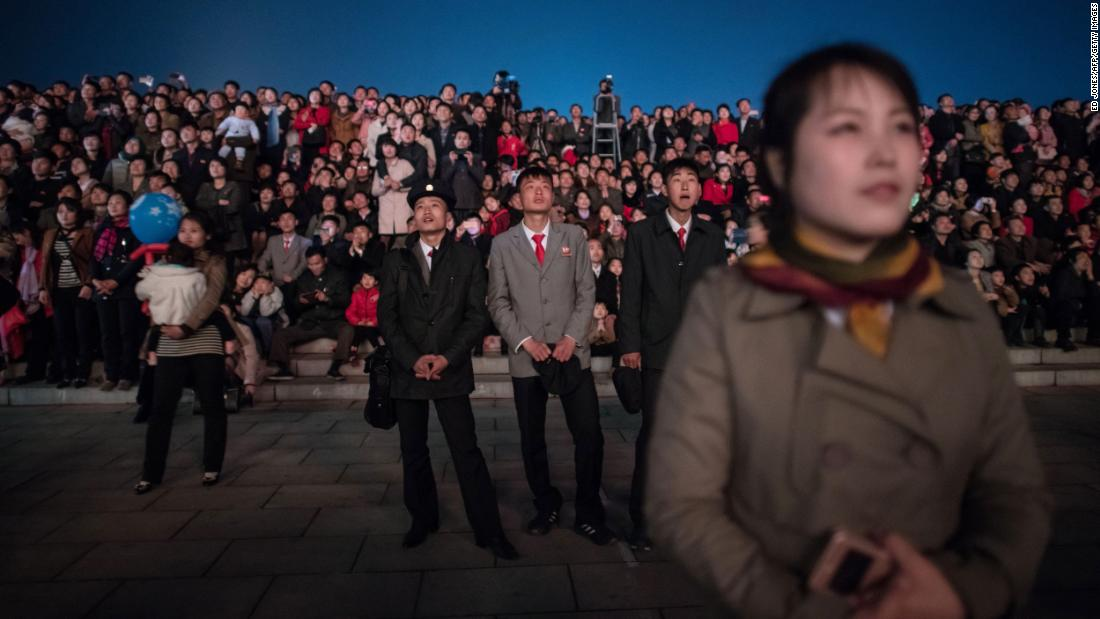 Spectators watch a fireworks display over the Taedong River for the anniversary of the birth of the late North Korean leader Kim Il Sung in Pyongyang, North Korea, on Sunday, April 15.