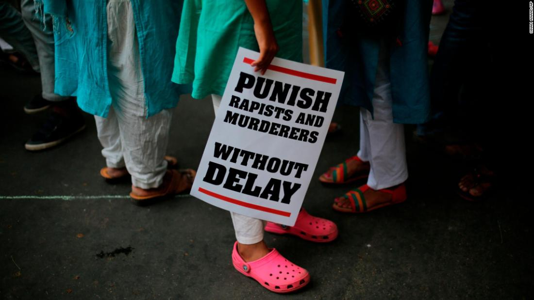 "People gather near the Parliament in New Delhi on Sunday, April 15, to protest against reported rape cases. <a href=""https://www.cnn.com/2018/04/13/asia/india-child-rape-jammu-intl/index.html"" target=""_blank"">The gang rape and murder </a>of an 8-year-old Muslim girl in the northern Indian state of Jammu and Kashmir has inflamed religious tensions and sparked widespread protests, in a case that is threatening to further destabilize an already restive region. <a href=""https://www.cnn.com/2018/04/16/asia/india-rape-bjp-protests-intl/index.html"" target=""_blank"">Rape cases spark political protest movement in India</a>"