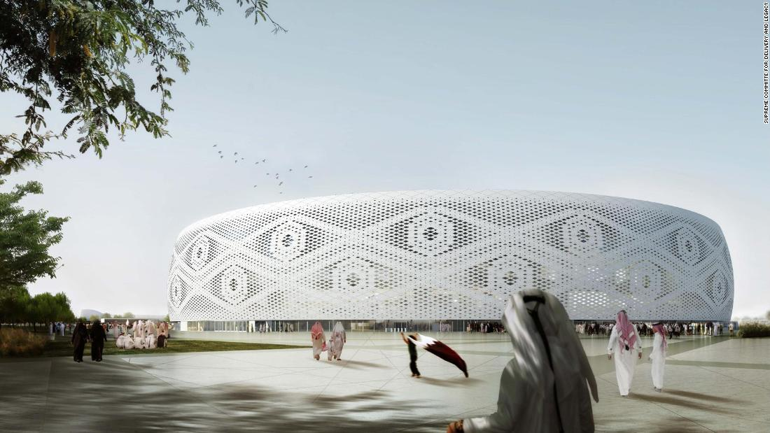 The 40,000-seat Al Thumama Stadium will host matches up to the quarterfinals of the 2022 World Cup. The venue's design represents the gahfiya, a traditional woven cap worn by males across the Arab world.