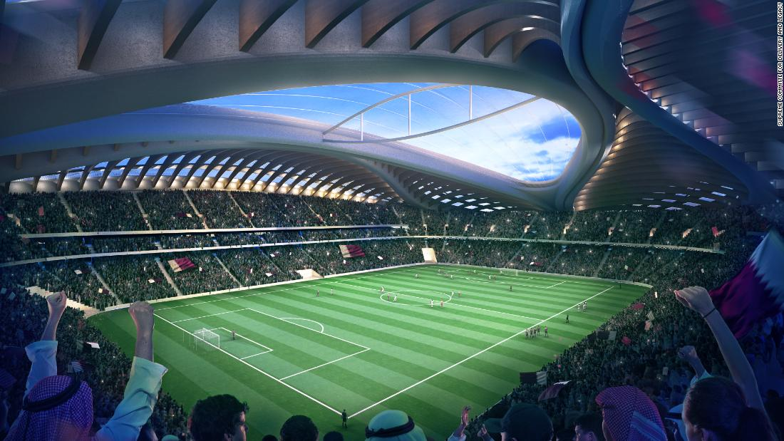 A an artist's rendering of the Al Wakrah stadium in Qatar.
