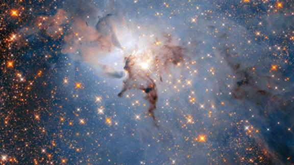 This is a more star-filled view of the Lagoon Nebula, using Hubble