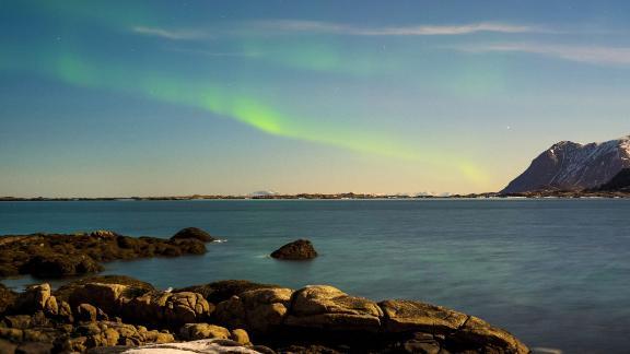Lofoten, Norway: The aurora borealis is pictured over Norway
