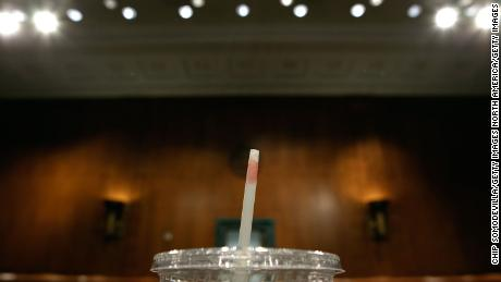 WASHINGTON - MAY 18:  Lipstick is left on the straw of a plastic cup of tea that U.S. Secretary of State Hillary Clinton drank while testifying before the Senate Foreign Relations Committee about the new START (Strategic Arms Reduction Treaty) treaty on Capitol Hill May 18, 2010 in Washington, DC. President Barack Obama and Russian President Dmitri Medvedev signed the new arms reduction treaty in April. The treaty, which says the two countries must cut back to no more than 800 total launchers and slash their weapons stores by 30 percent, must be approved by the Senate.  (Photo by Chip Somodevilla/Getty Images)