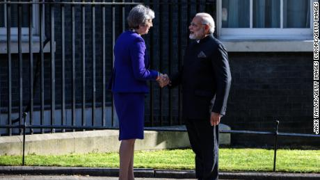 British Prime Minister Theresa May greets Indian Prime Minister Narendra Modi outside Number 10 Downing Street ahead of a bilateral meeting on April 18, 2018 in London, England.