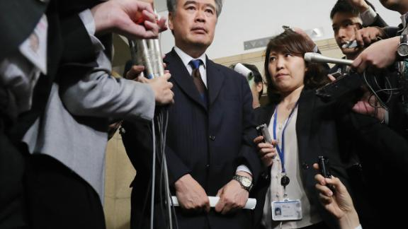 Top Japanese finance official Junichi Fukuda faces reporters Wednesday in Tokyo.