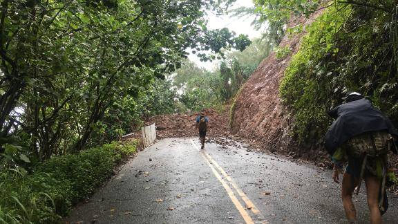 Rupp and her friends climbed over landslides to make their way into town.