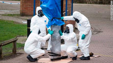 epa06664236 (FILE) - Army officers remove the bench, where Sergi Skripal and his daughter were found, in Salisbury, Wiltshire, Britain, 23 March 2018 (reissued 12 April 2018). Reports on 12 April 20-18 state that  The Organisation for the Prohibition of Chemical Weapons (OPCW) transmitted on 11 April to the United Kingdom of Great Britain and Northern Ireland (UK) the report of the OPCW?s mission to provide requested technical assistance in regard to the Salisbury incident on 04 March 2018. The OPCW states that the results of analysis by the OPCW designated laboratories of environmental and biomedical samples collected by the OPCW team confirm the findings of the United Kingdom relating to the identity of the toxic chemical that was used in Salisbury and severely injured three people.  EPA-EFE/WILL OLIVER