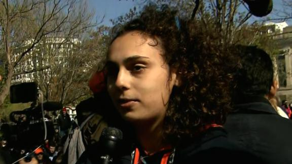 Hiam Baidas joins demonstrators in Lafayette Square in Washington.
