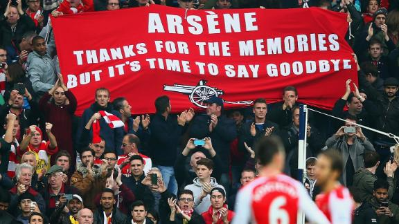 """In the years that followed, though, Wenger continued to face fan backlash. """"Thanks for the memories,"""" one sign read, """"but it"""