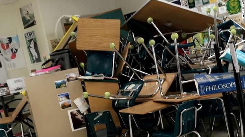Students at the Ocala, Florida, school used desks, chairs and file cabinets to barricade themselves.