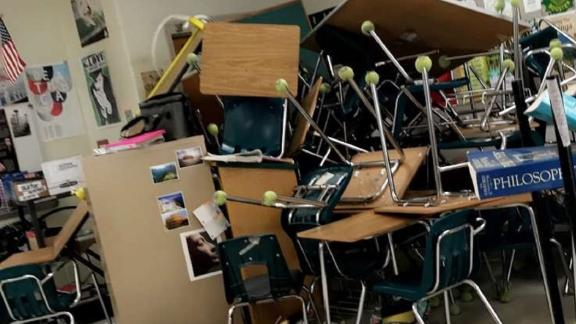 Students at Forest High School in  Ocala, Florida, used desks, chairs and even file cabinets to barricade themselves in their classroom.